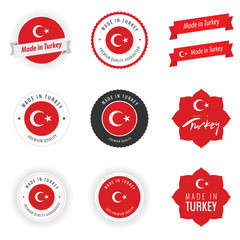Made in Turkey labels, badges and stickers