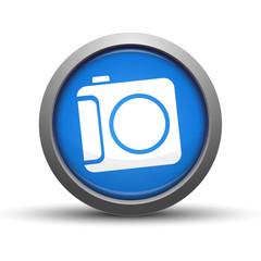 Circular Blue Button with camera