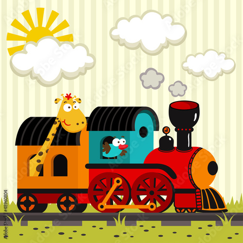 locomotive with a giraffe and a bird