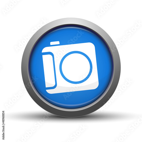 Circular Blue Button with camera