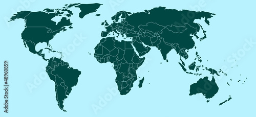 Staande foto Wereldkaart Political world map