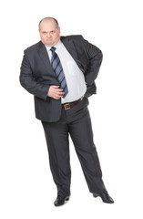 Fat businessman glowering at the camera