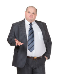 Obese businessman making a point