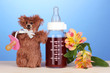 Baby bottle with fresh juice and teddy bear on blue background
