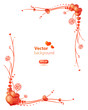 Vector frame with floral ornament and hearts.