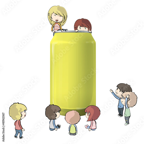 kids around Tin. Vector design