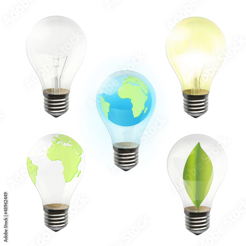Collection of realistic bulb isolated on white. Vector design.