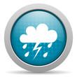 weather forecast blue glossy icon on white background