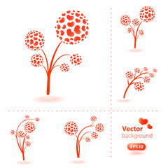 Set of vector flowers made from hearts.