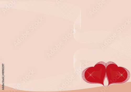 two red hearts - background