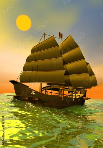 Oriental junk by sunset - 3D render