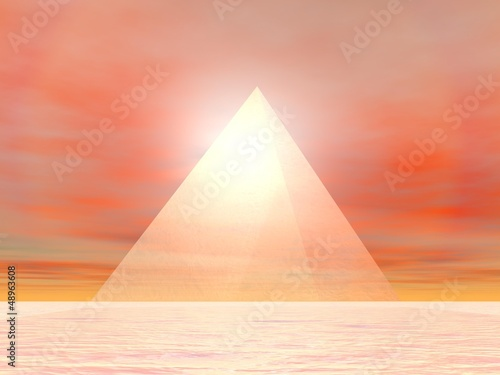 Pyramid to sun - 3D render