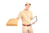 A delivery person delivering a packet and holding a clipboard