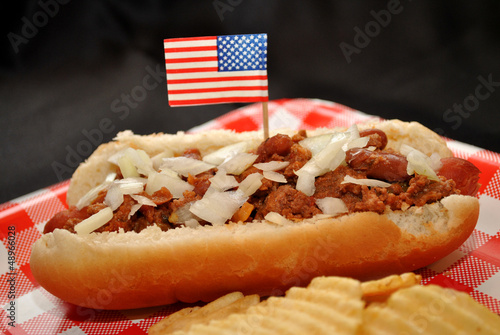 American Chili Dog with Diced Onion on Top
