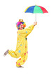 Full length portrait of a male clown with umbrella