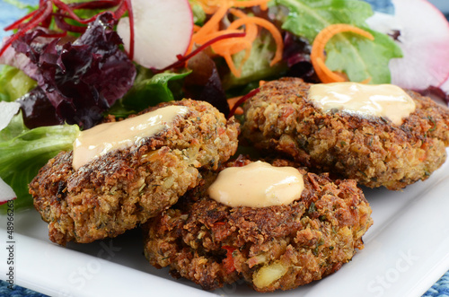 Crab cakes with salad
