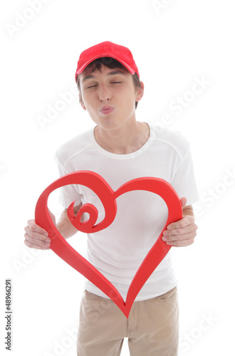 Teen boy red heart puckering up kissing