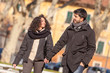 Romatic Young Couple Walking in the City