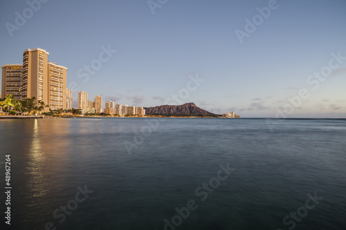 Dusk light on Waikiki Bay in Honolulu Hawaii