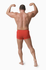 Muscular Man Wearing Red Underwear