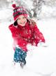 Little girl and snowman