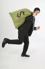 Businessman Running Away With Money