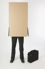 Businessman Inside A Cardboard Box