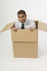 Man Sitting In A Cardboard Box