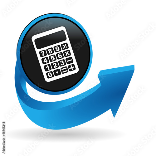 calculatrice sur bouton flêche bleue