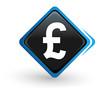icône livre sterling sur bouton carré bleu