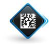 icône flashcode sur bouton carré bleu