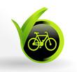 icône vélo sur bouton vert et noir