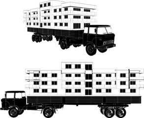 Moving A House Buildings With A Truck Vector 02