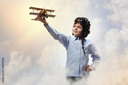 Little boy in pilot's hat - 48971066