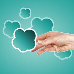Hand with cloud computing symbol