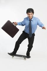 Businessman On Skateboard
