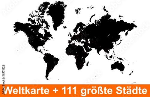 Weltkarte Silhouette Städte Vektor