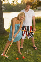 Couple Playing Croquet