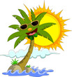 Tropical island with cartoon palm tree and sun