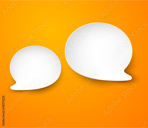 Paper white speech bubbles.