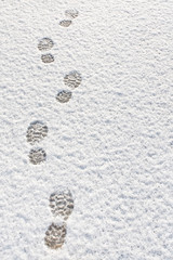 Footprints in the snow background