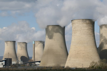 Coal fuelled power station chimneys
