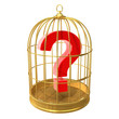 Birdcage with a question mark inside