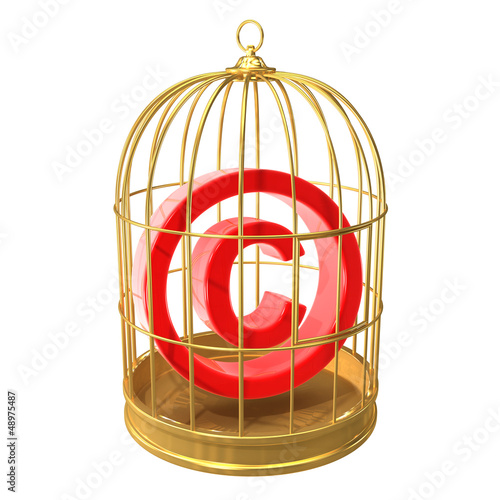Birdcage with copyright symbol inside