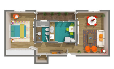 Modern interior design - 3d home project - rendered cozy apartme