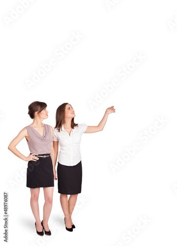 Young ladies gesturing with copy space