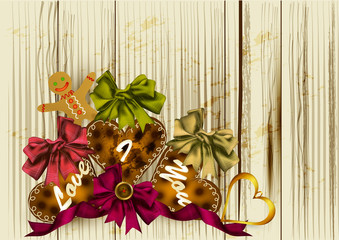 Background with bakery in heart shape on wooden texture