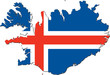 Map of Iceland with national flag