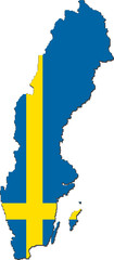 Map of Sweden with national flag