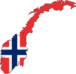 Map of Norway with national flag